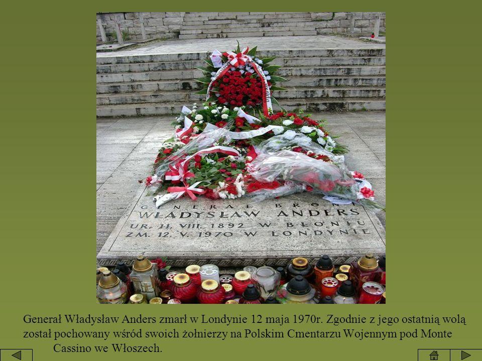 Generał Władysław Anders zmarł w Londynie 12 maja 1970r