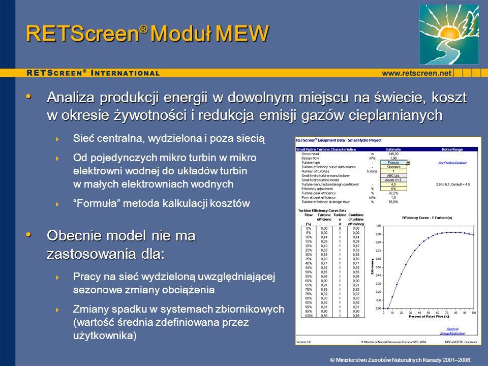 RETScreen® Moduł MEW Analiza produkcji energii w dowolnym miejscu na świecie, koszt w okresie żywotności i redukcja emisji gazów cieplarnianych.