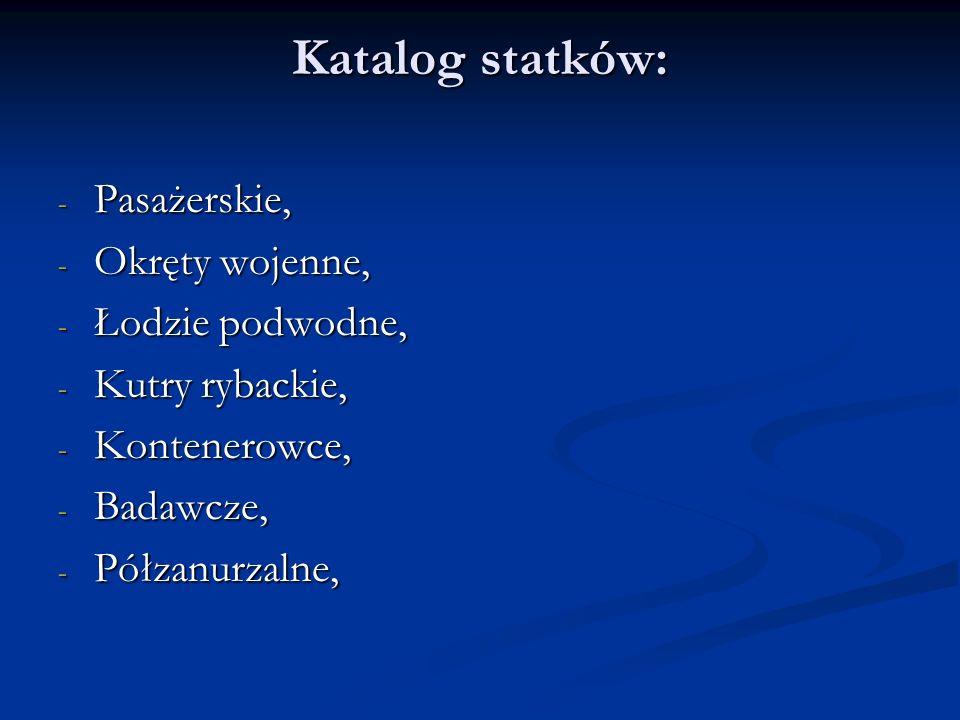 Katalog statków: Pasażerskie, Okręty wojenne, Łodzie podwodne,