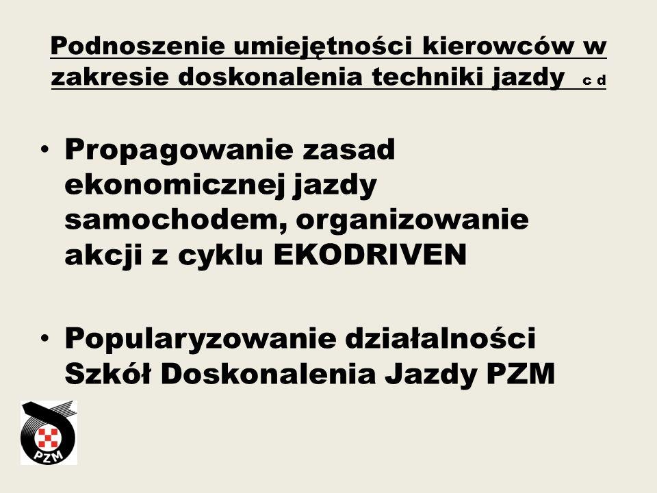 Popularyzowanie działalności Szkół Doskonalenia Jazdy PZM