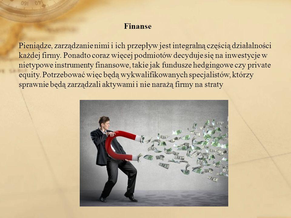 Finanse Pieniądze, zarządzanie nimi i ich przepływ jest integralną częścią działalności każdej firmy.