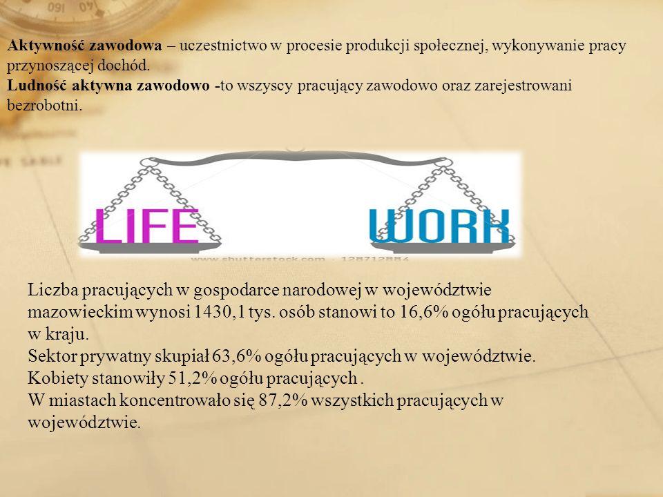 Sektor prywatny skupiał 63,6% ogółu pracujących w województwie.