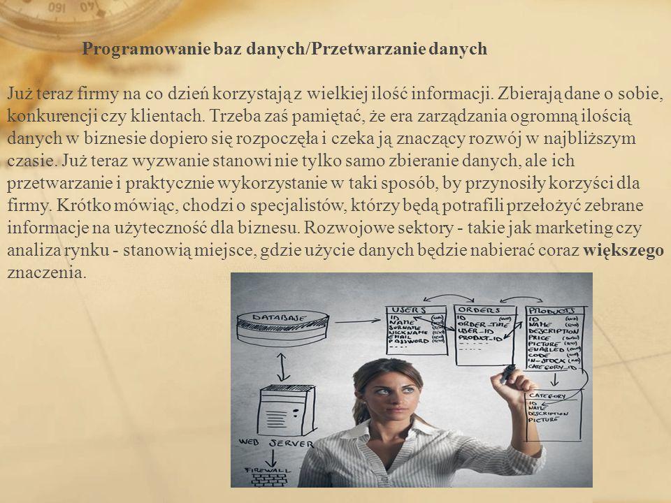 Programowanie baz danych/Przetwarzanie danych Już teraz firmy na co dzień korzystają z wielkiej ilość informacji.