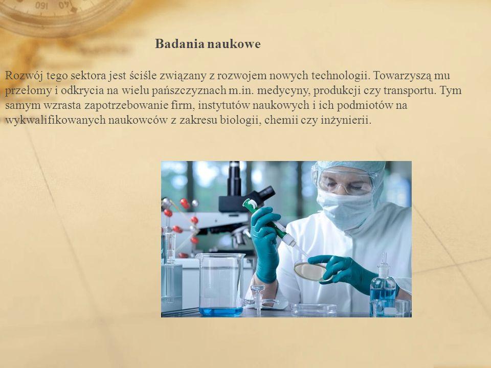 Badania naukowe Rozwój tego sektora jest ściśle związany z rozwojem nowych technologii.