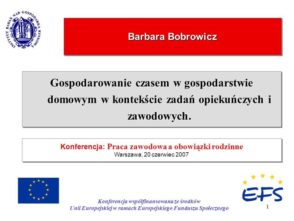 Barbara Bobrowicz Konferencja: Praca zawodowa a obowiązki rodzinne. Warszawa, 20 czerwiec 2007.
