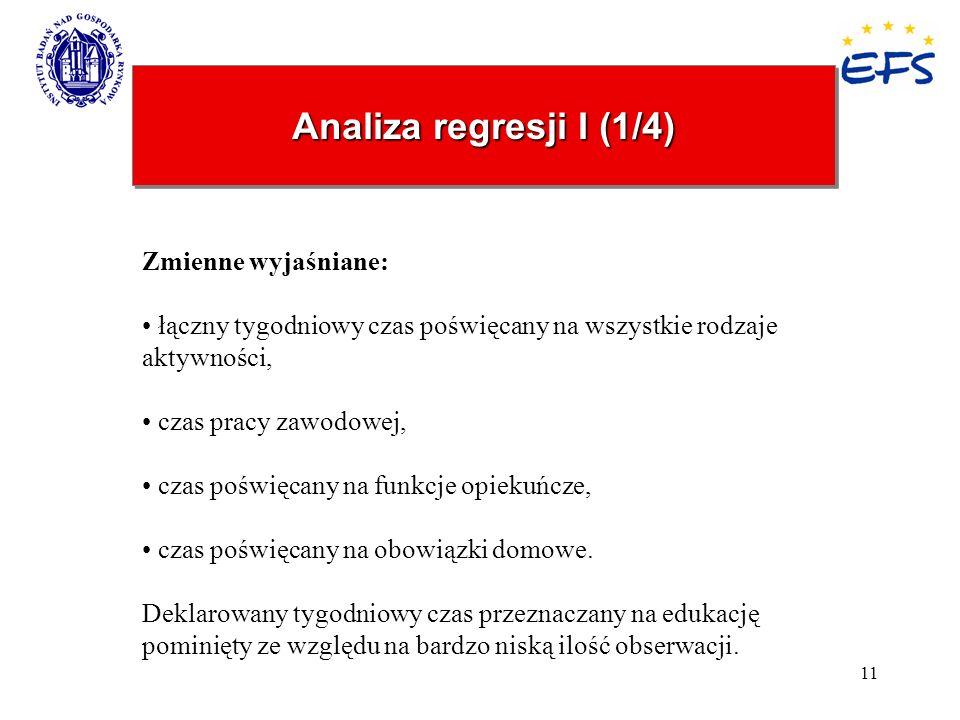 Analiza regresji I (1/4) Zmienne wyjaśniane: