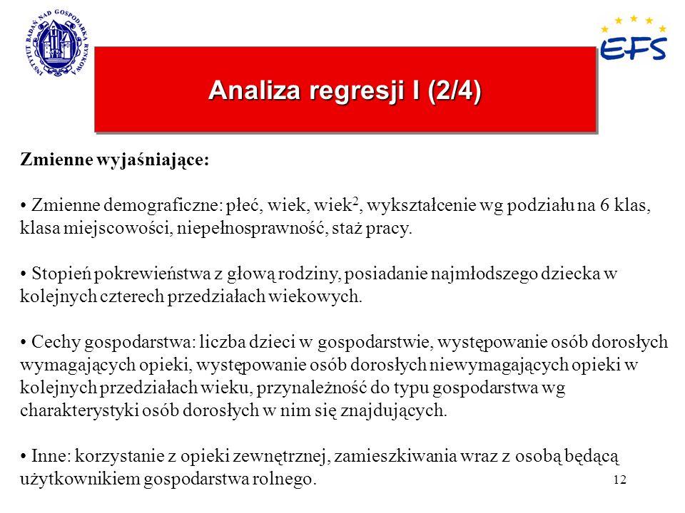 Analiza regresji I (2/4) Zmienne wyjaśniające:
