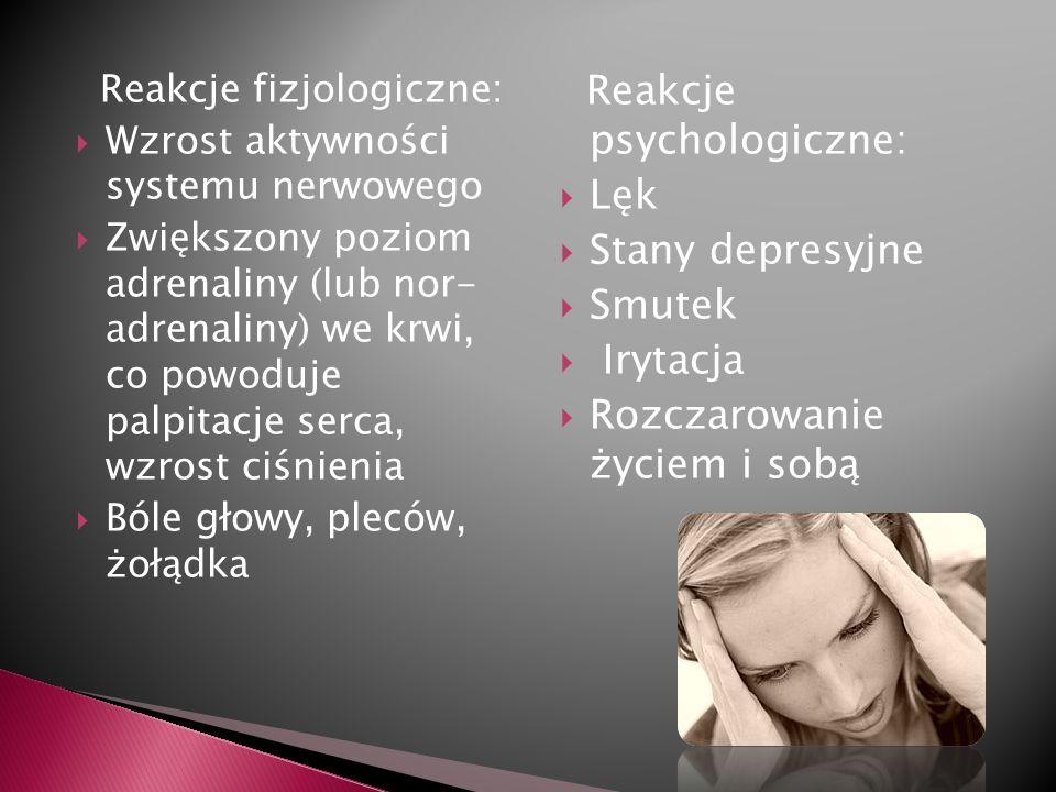 Reakcje psychologiczne: Lęk Stany depresyjne Smutek Irytacja