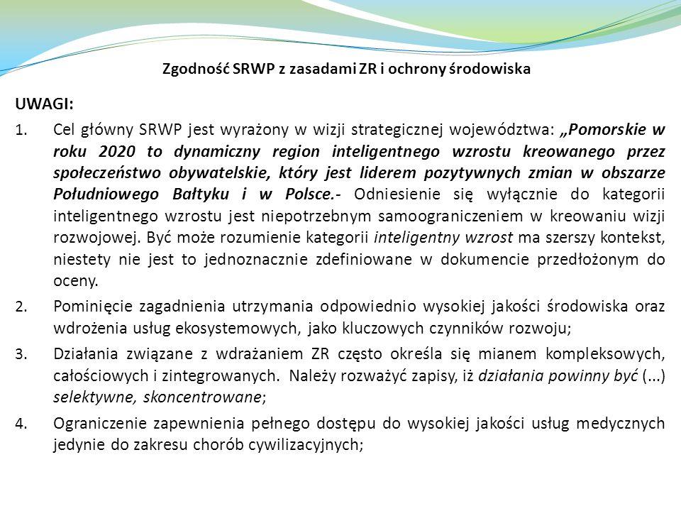 Zgodność SRWP z zasadami ZR i ochrony środowiska
