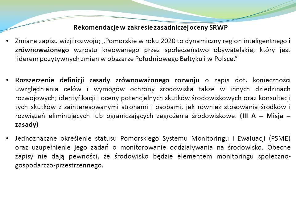 Rekomendacje w zakresie zasadniczej oceny SRWP