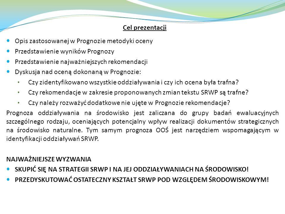Cel prezentacji Opis zastosowanej w Prognozie metodyki oceny. Przedstawienie wyników Prognozy. Przedstawienie najważniejszych rekomendacji.