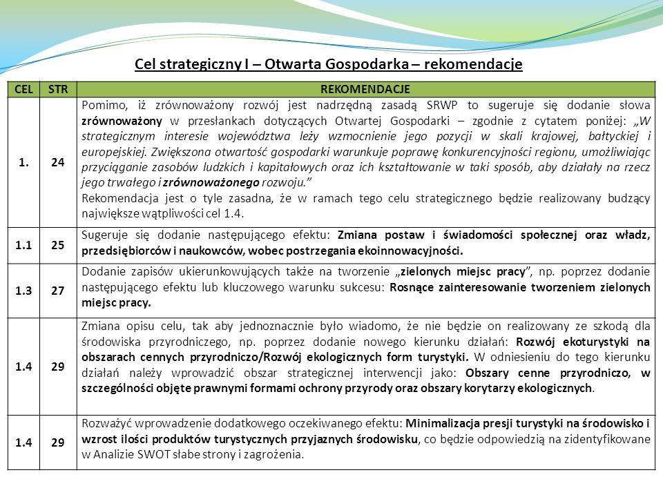 Cel strategiczny I – Otwarta Gospodarka – rekomendacje