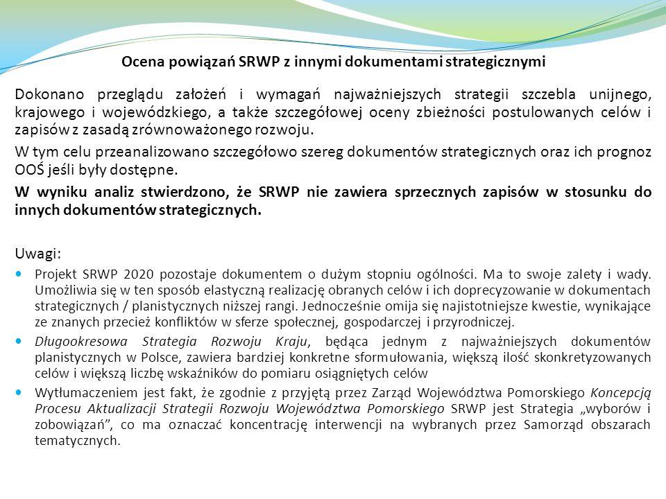 Ocena powiązań SRWP z innymi dokumentami strategicznymi