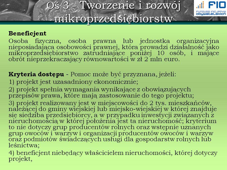 Oś 3 - Tworzenie i rozwój mikroprzedsiębiorstw