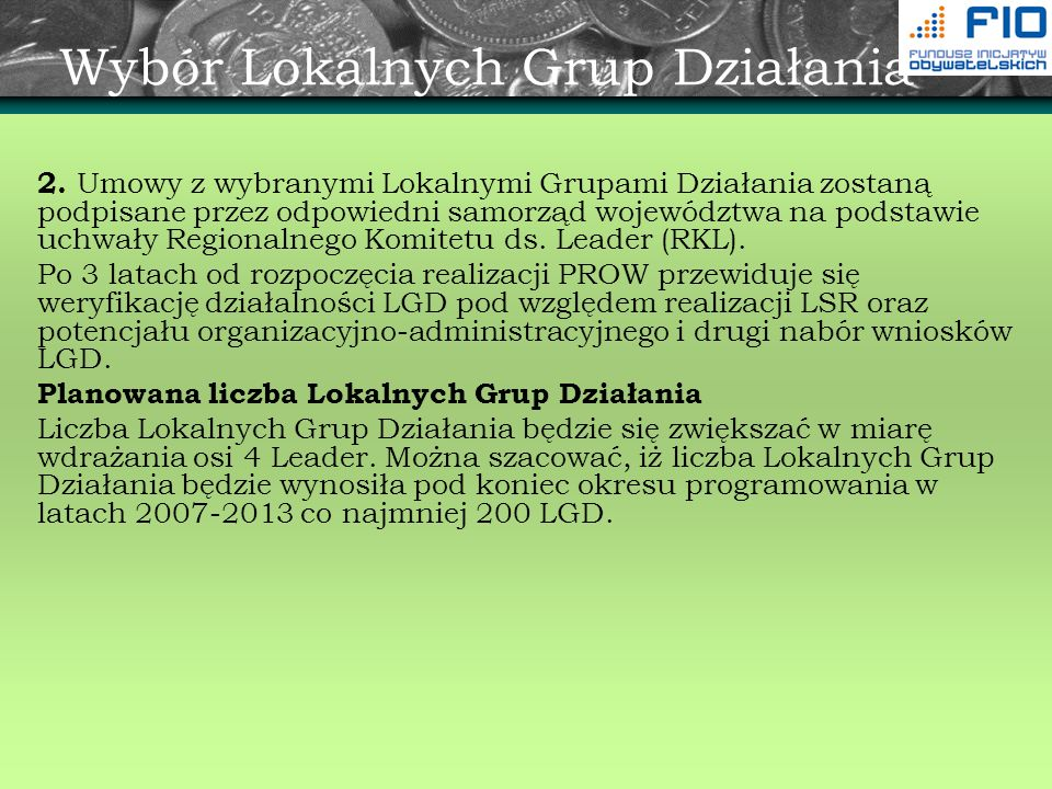 Wybór Lokalnych Grup Działania