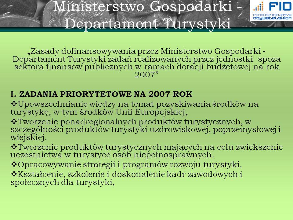 Ministerstwo Gospodarki - Departament Turystyki