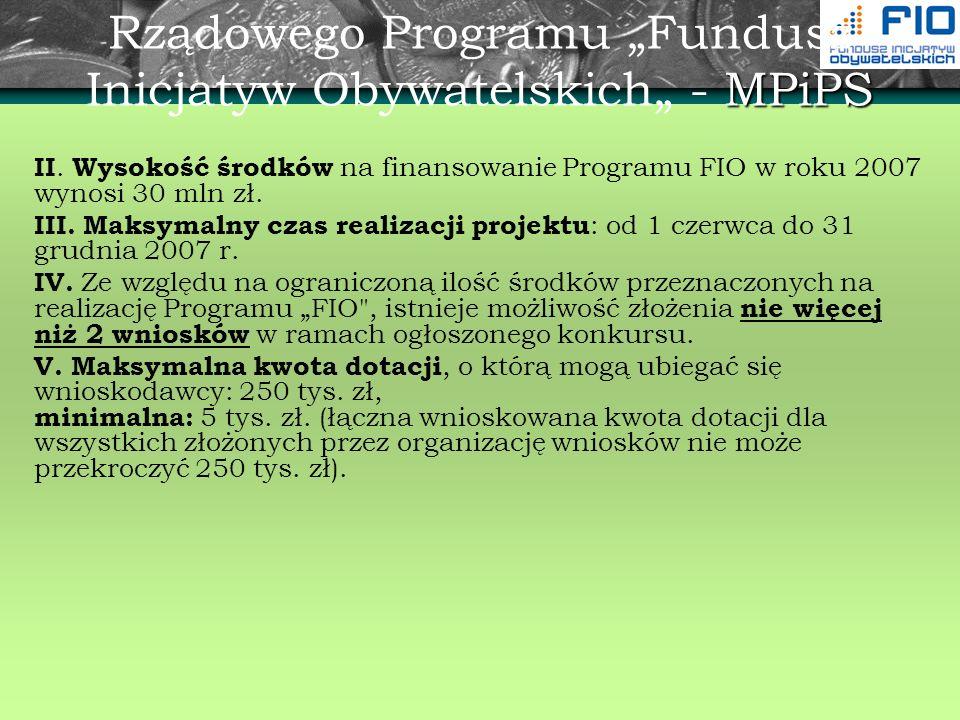 """Rządowego Programu """"Fundusz Inicjatyw Obywatelskich"""" - MPiPS"""