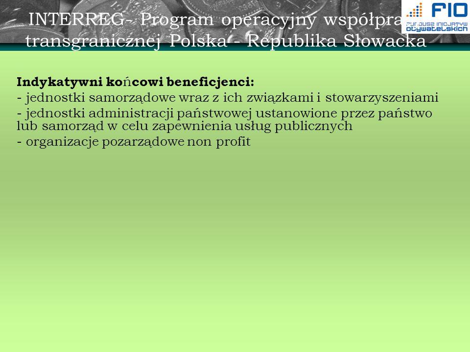 INTERREG- Program operacyjny współpracy transgranicznej Polska - Republika Słowacka