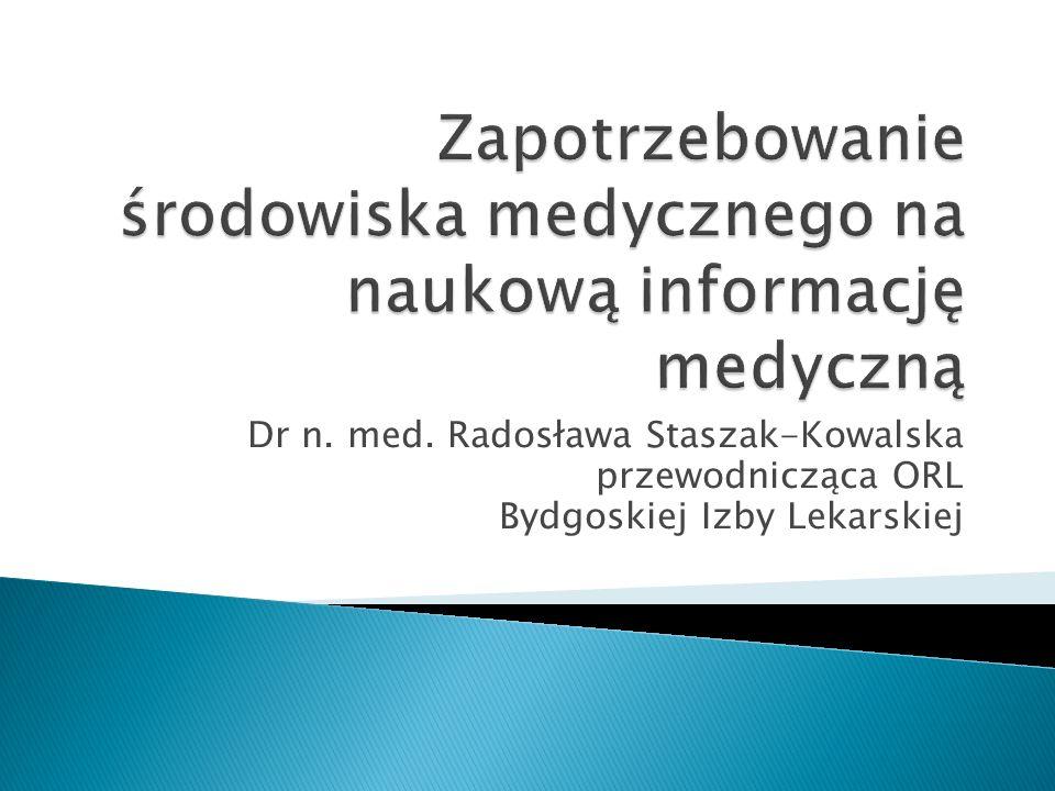 Zapotrzebowanie środowiska medycznego na naukową informację medyczną