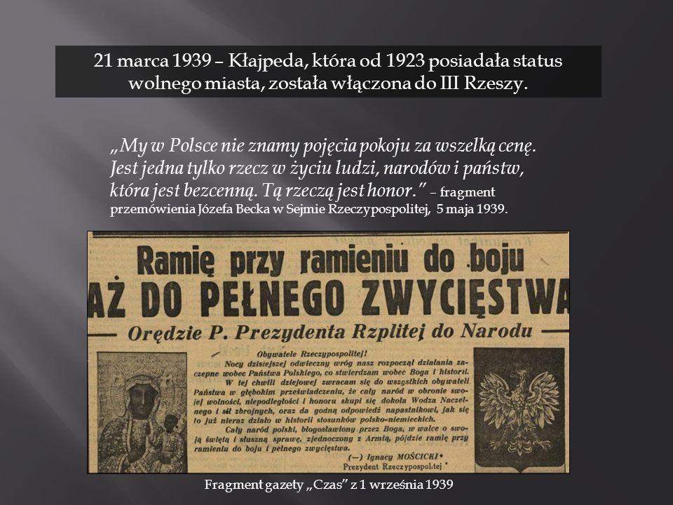 """Fragment gazety """"Czas z 1 września 1939"""