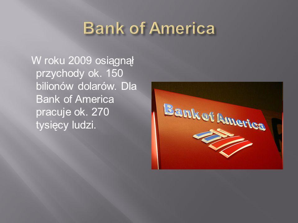 Bank of America W roku 2009 osiągnął przychody ok.