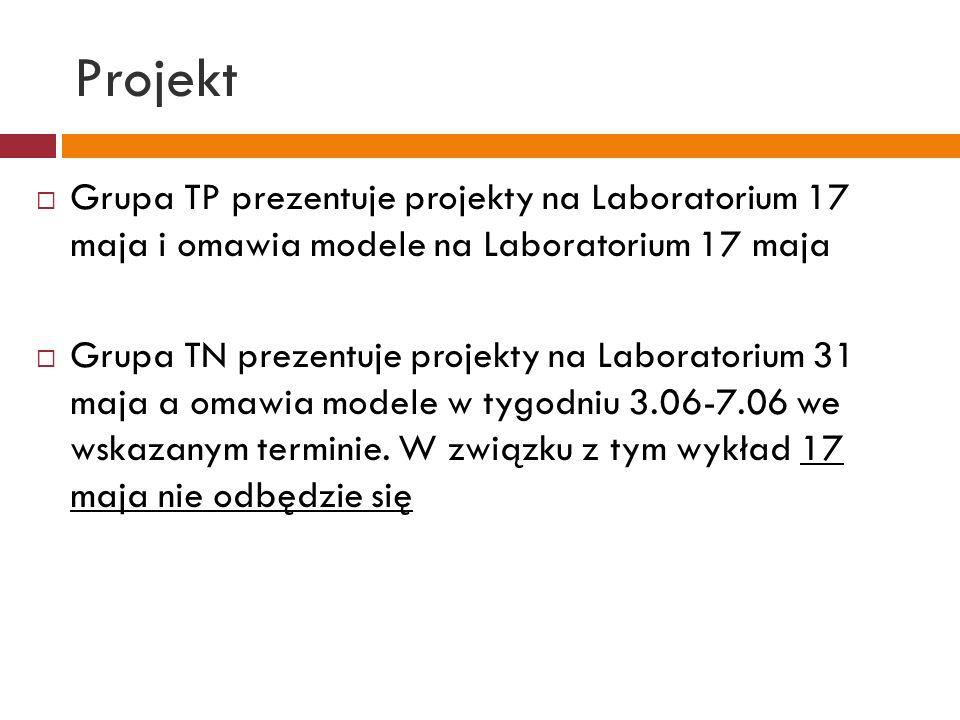 Projekt Grupa TP prezentuje projekty na Laboratorium 17 maja i omawia modele na Laboratorium 17 maja.