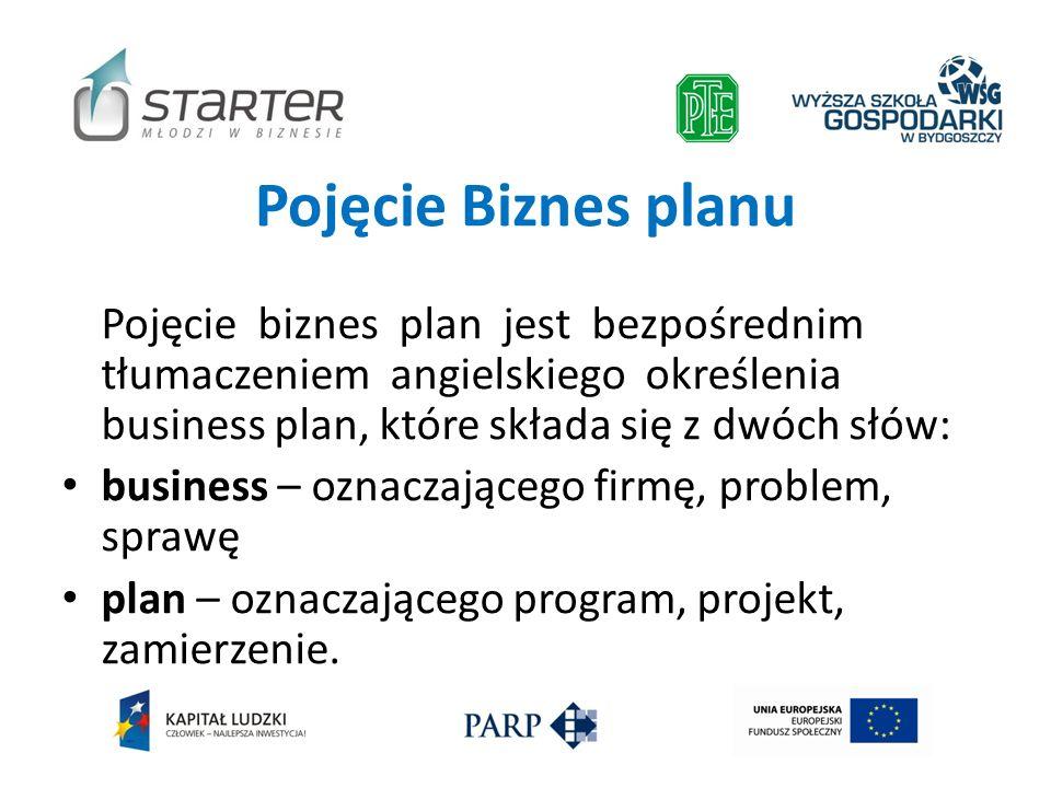 Pojęcie Biznes planu Pojęcie biznes plan jest bezpośrednim tłumaczeniem angielskiego określenia business plan, które składa się z dwóch słów: