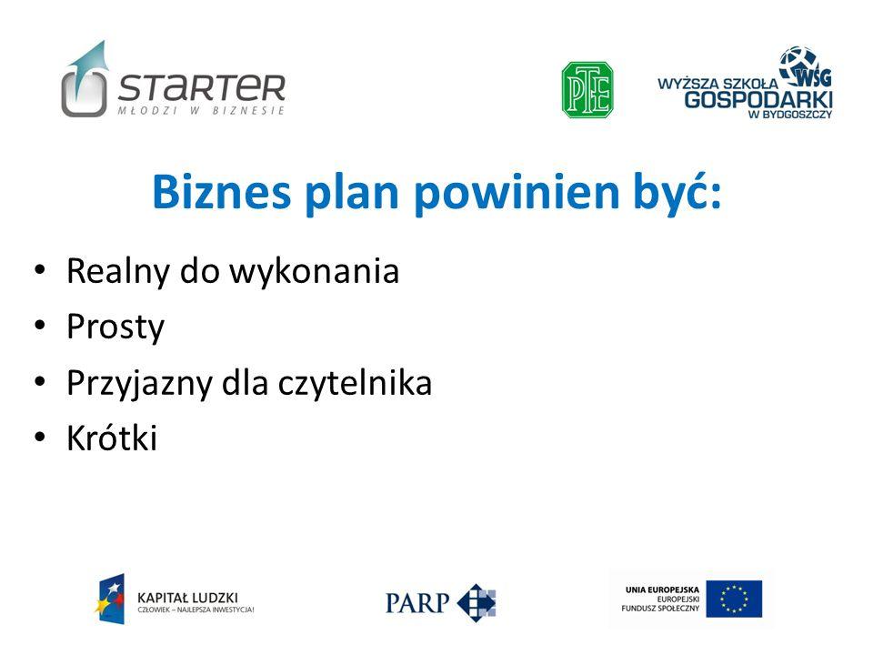Biznes plan powinien być: