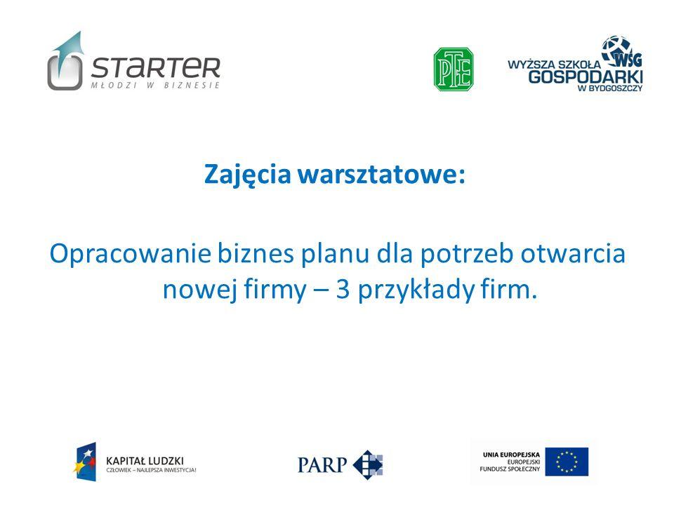 Zajęcia warsztatowe: Opracowanie biznes planu dla potrzeb otwarcia nowej firmy – 3 przykłady firm.