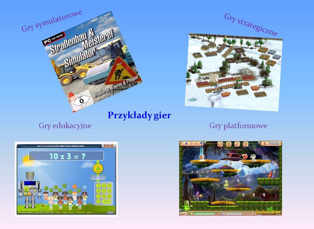 Przykłady gier Gry symulatorowe Gry strategiczne Gry edukacyjne