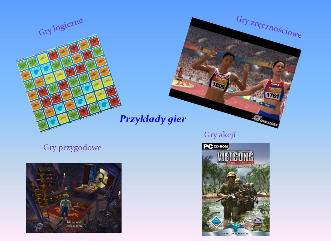 Gry logiczne Gry zręcznościowe Przykłady gier Gry akcji Gry przygodowe