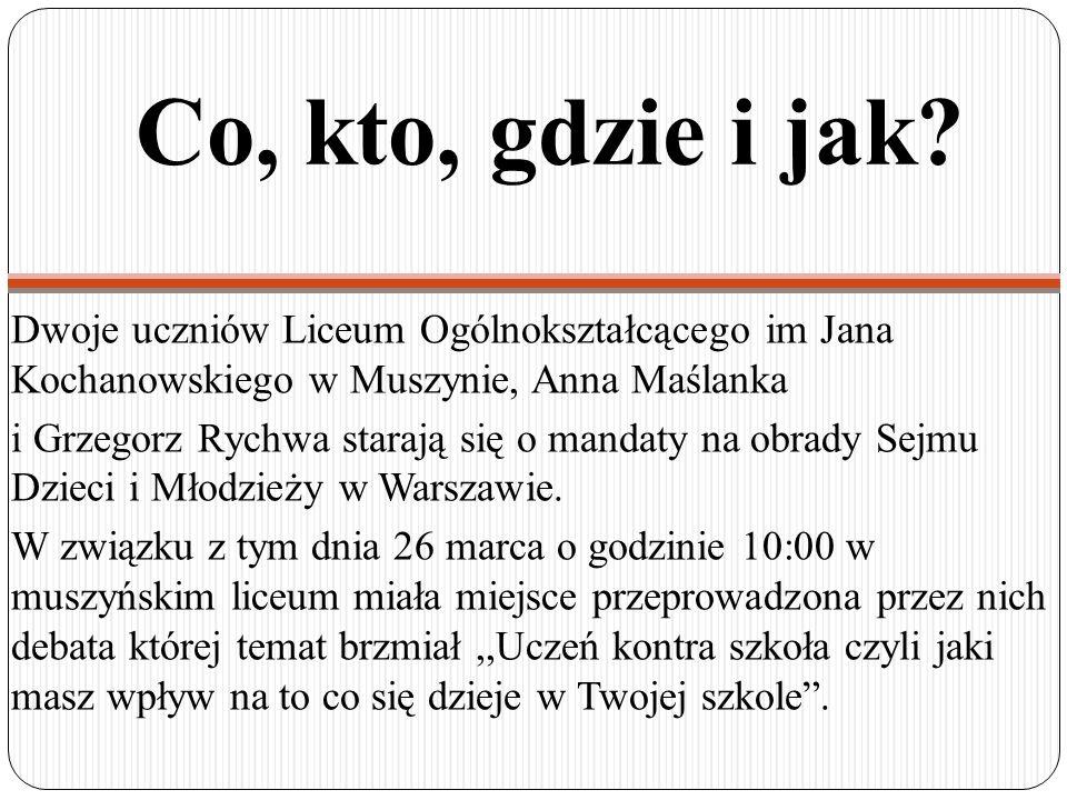 Co, kto, gdzie i jak Dwoje uczniów Liceum Ogólnokształcącego im Jana Kochanowskiego w Muszynie, Anna Maślanka.