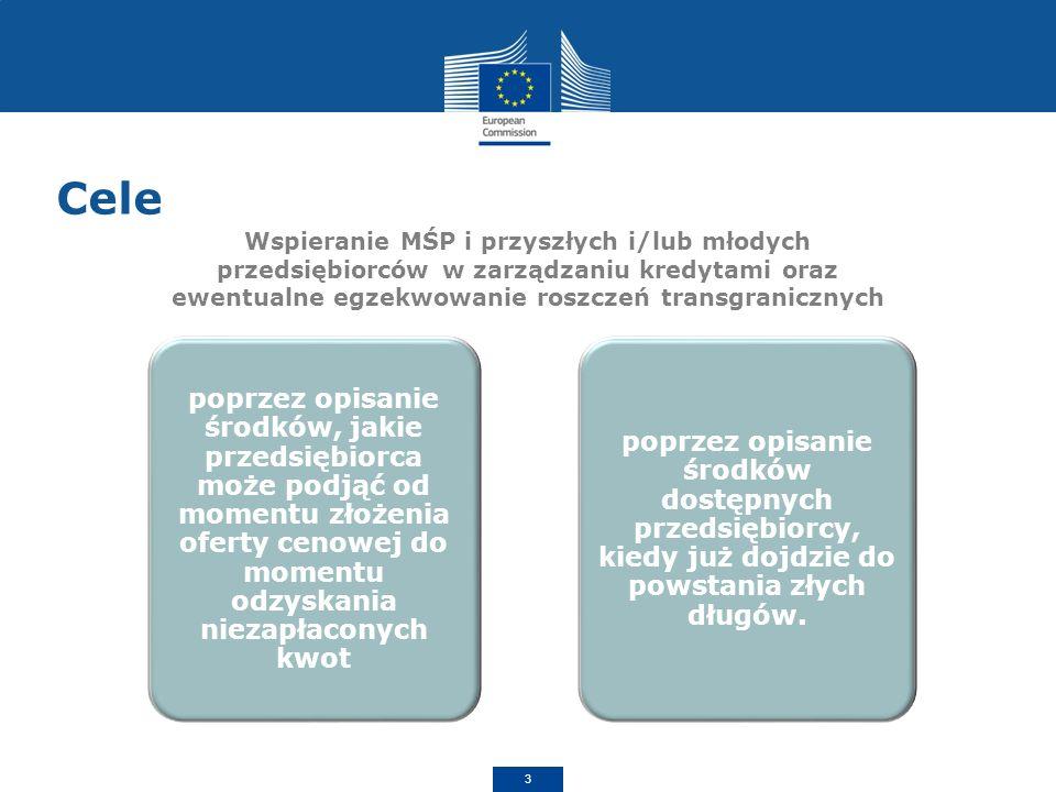 Cele Wspieranie MŚP i przyszłych i/lub młodych przedsiębiorców w zarządzaniu kredytami oraz ewentualne egzekwowanie roszczeń transgranicznych.