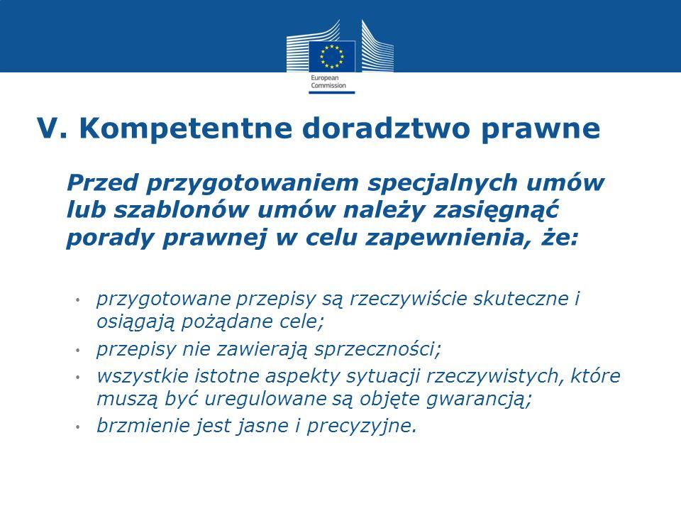 V. Kompetentne doradztwo prawne