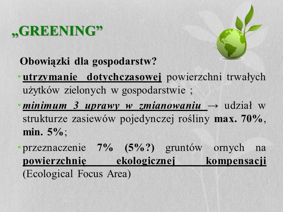 """""""GREENING Obowiązki dla gospodarstw utrzymanie dotychczasowej powierzchni trwałych użytków zielonych w gospodarstwie ;"""