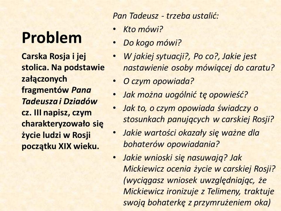 Problem Pan Tadeusz - trzeba ustalić: Kto mówi Do kogo mówi