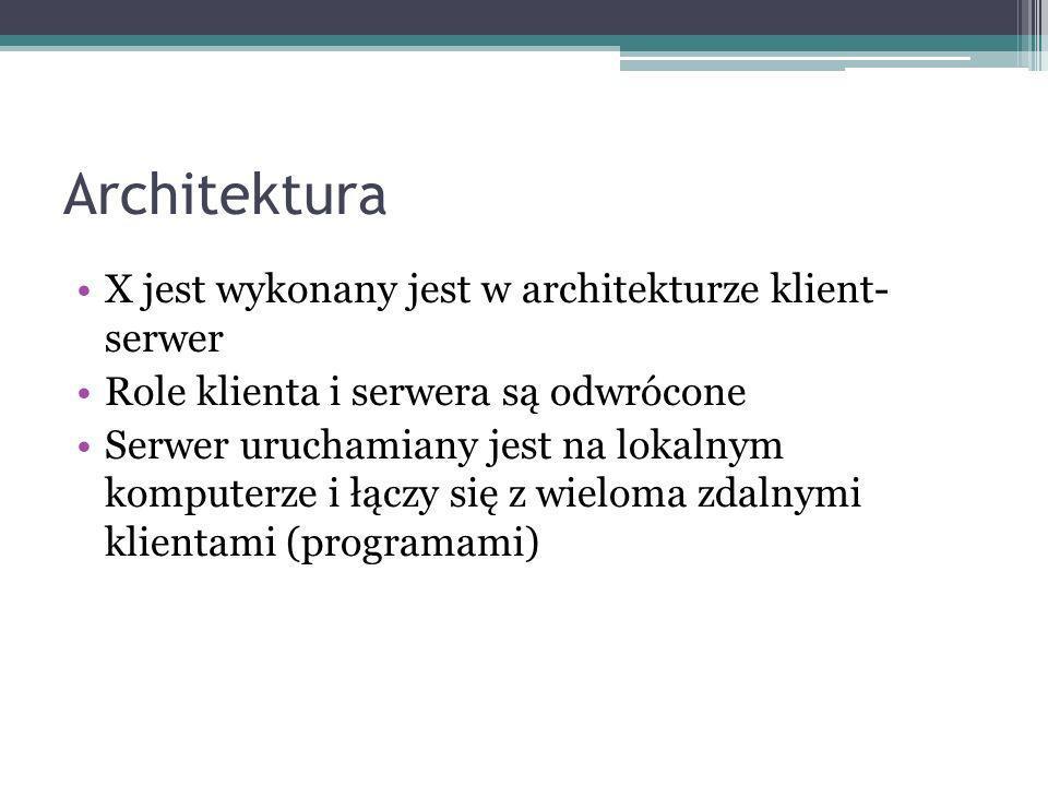 Architektura X jest wykonany jest w architekturze klient- serwer