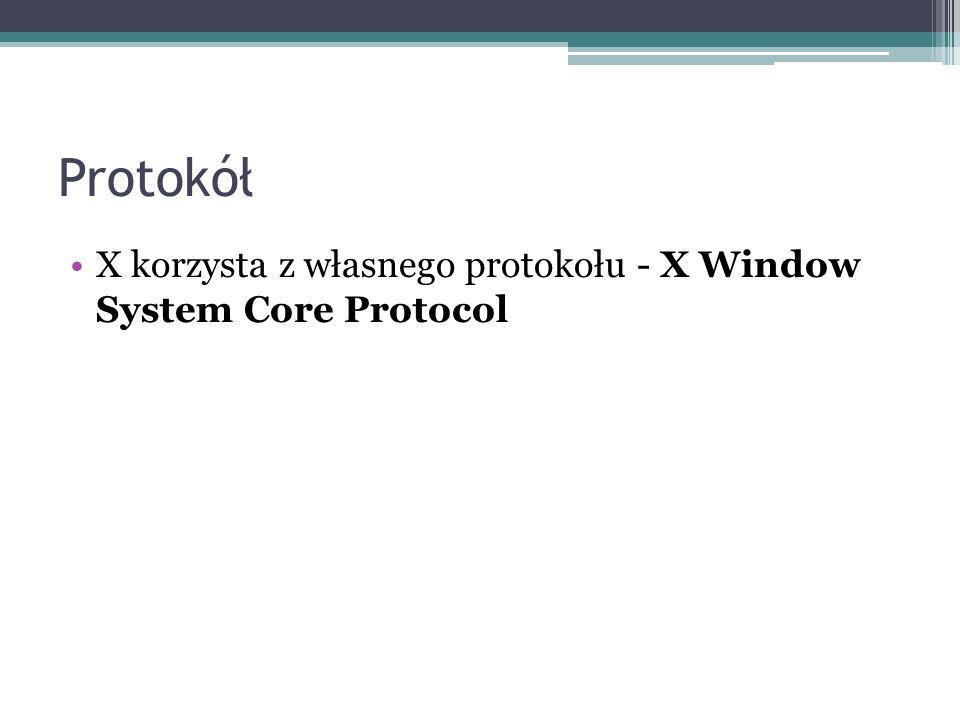 Protokół X korzysta z własnego protokołu - X Window System Core Protocol
