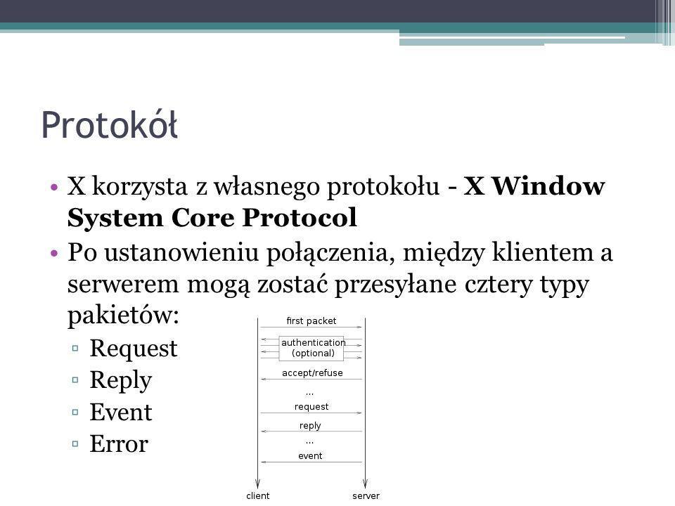 Protokół X korzysta z własnego protokołu - X Window System Core Protocol.