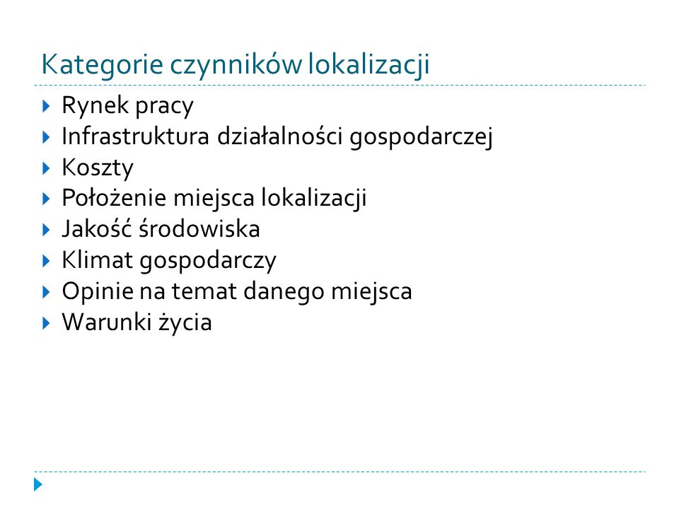 Kategorie czynników lokalizacji