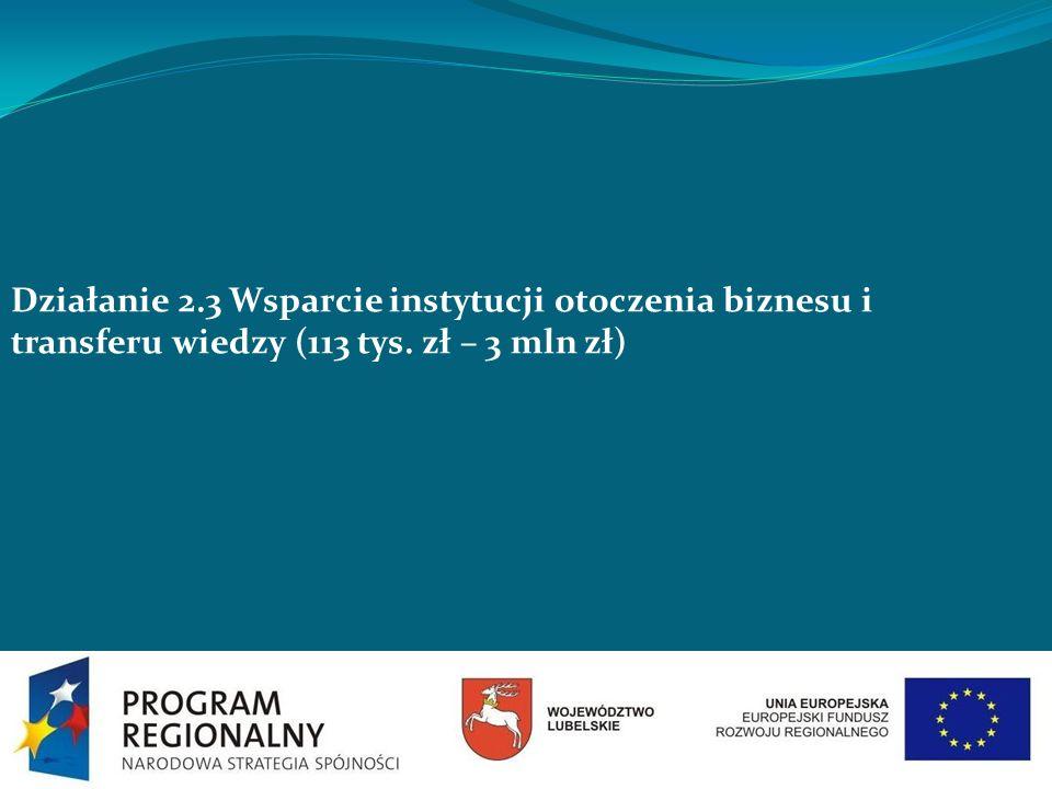 Działanie 2.3 Wsparcie instytucji otoczenia biznesu i transferu wiedzy (113 tys. zł – 3 mln zł)