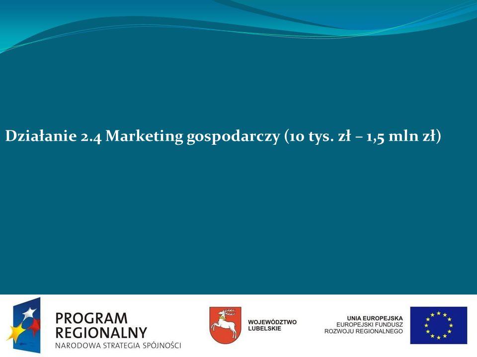 Działanie 2.4 Marketing gospodarczy (10 tys. zł – 1,5 mln zł)