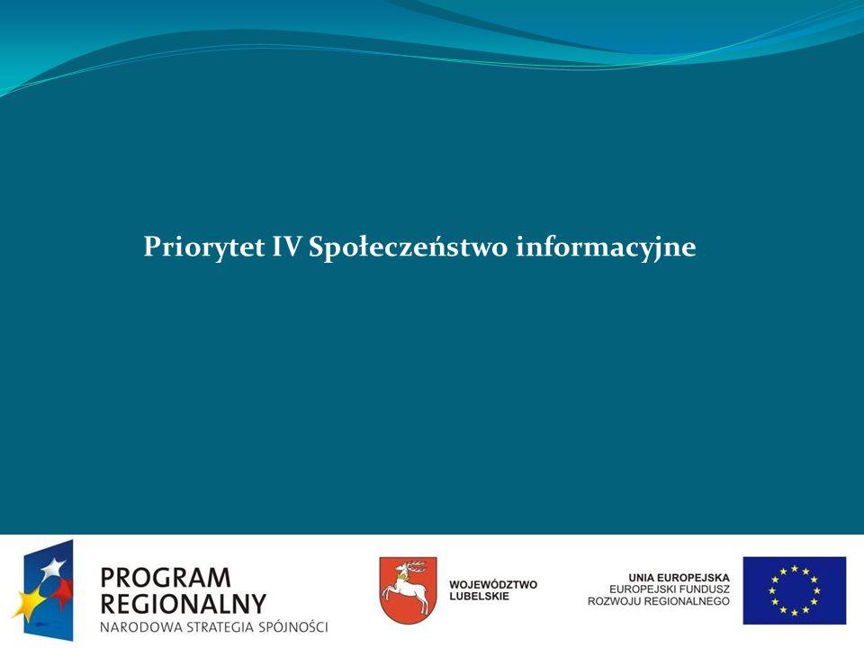 Priorytet IV Społeczeństwo informacyjne