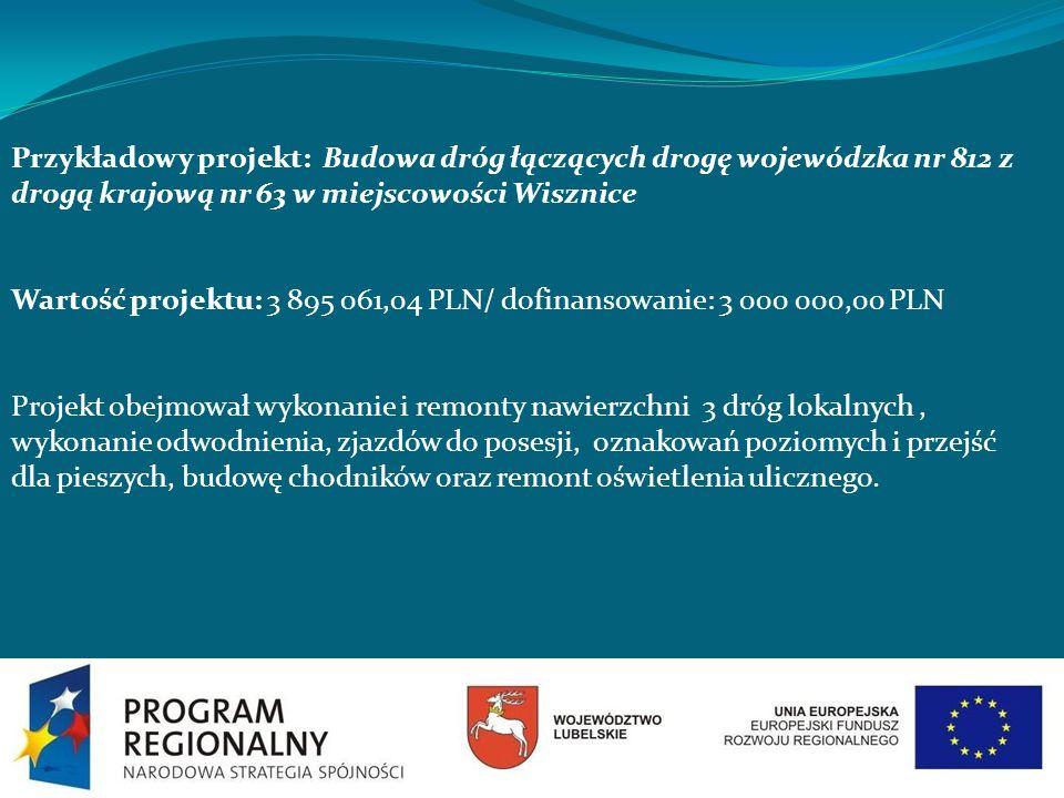 Przykładowy projekt: Budowa dróg łączących drogę wojewódzka nr 812 z drogą krajową nr 63 w miejscowości Wisznice