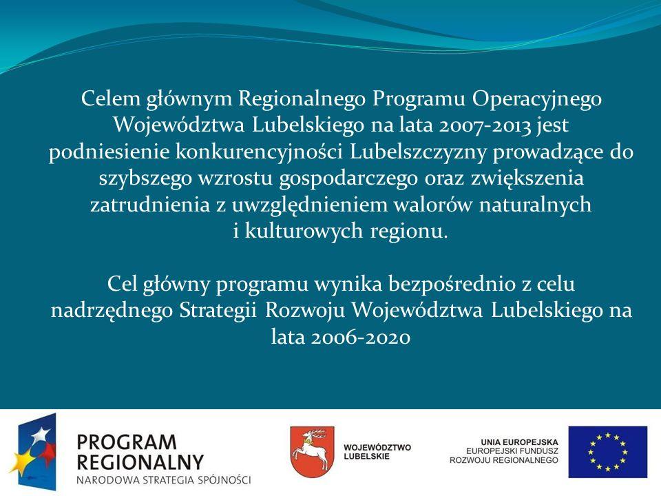 Celem głównym Regionalnego Programu Operacyjnego Województwa Lubelskiego na lata 2007-2013 jest