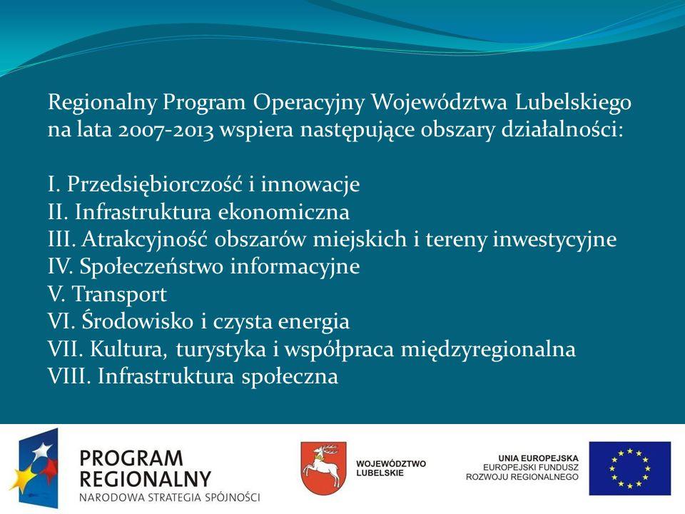 Regionalny Program Operacyjny Województwa Lubelskiego na lata 2007-2013 wspiera następujące obszary działalności: