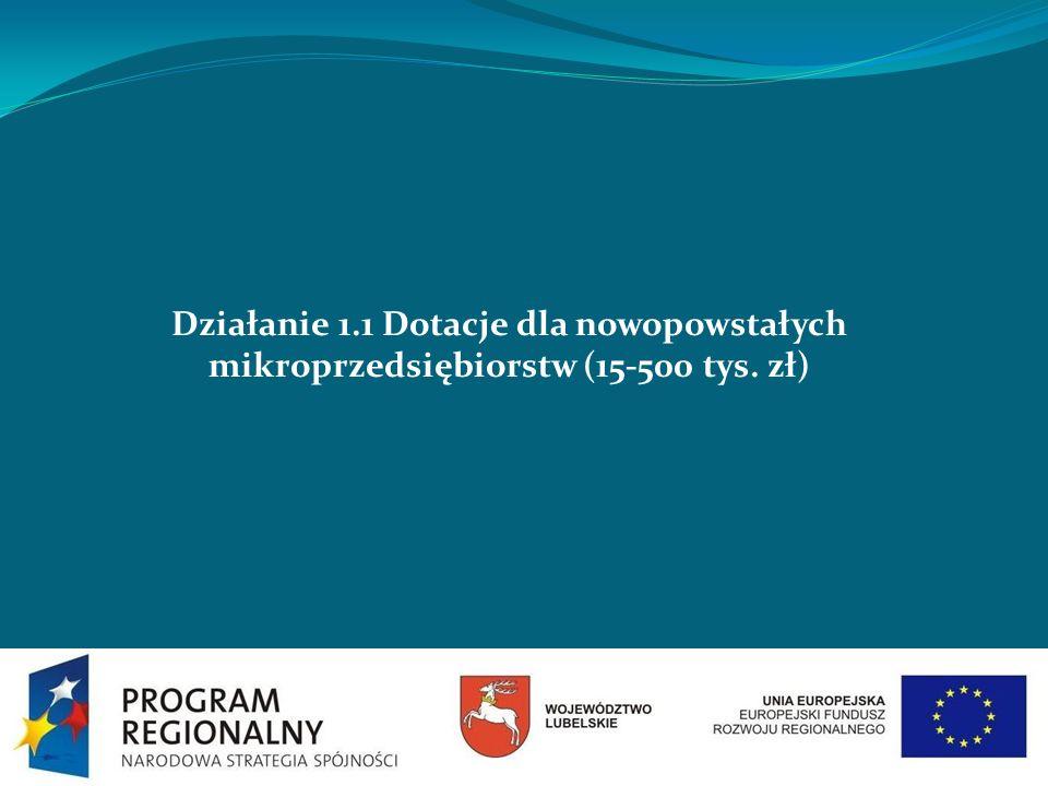 Działanie 1.1 Dotacje dla nowopowstałych mikroprzedsiębiorstw (15-500 tys. zł)