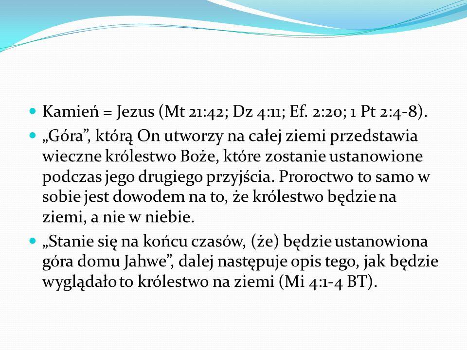 Kamień = Jezus (Mt 21:42; Dz 4:11; Ef. 2:20; 1 Pt 2:4-8).