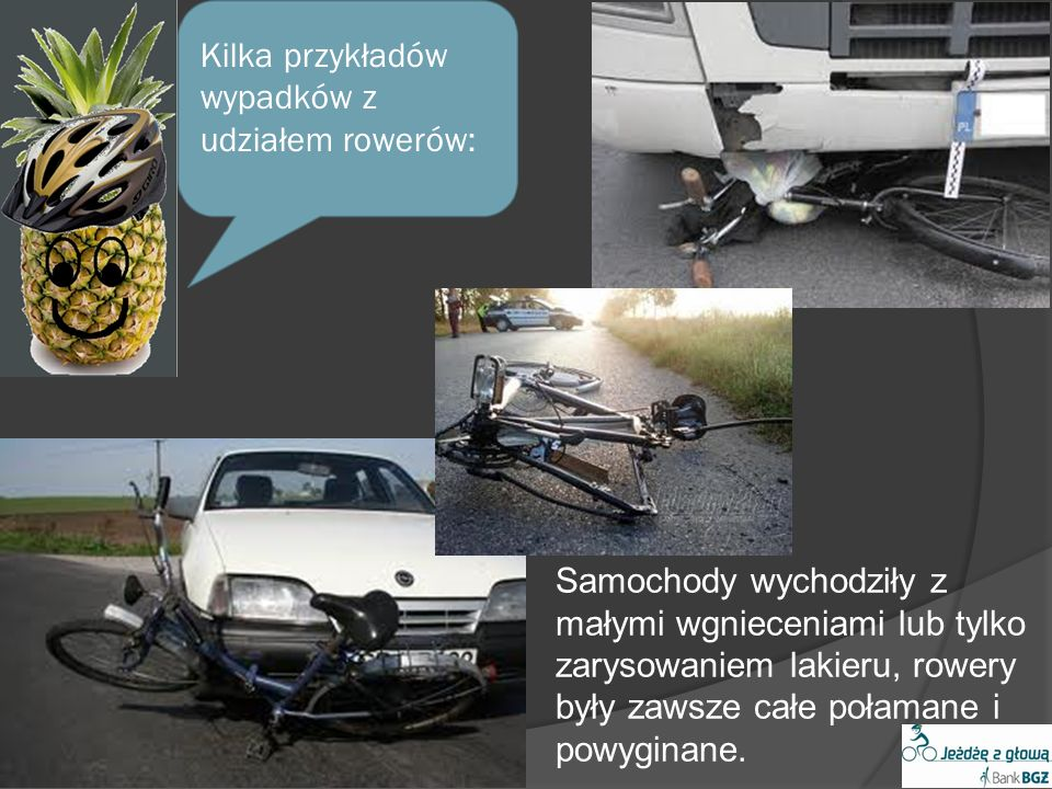 Kilka przykładów wypadków z udziałem rowerów: