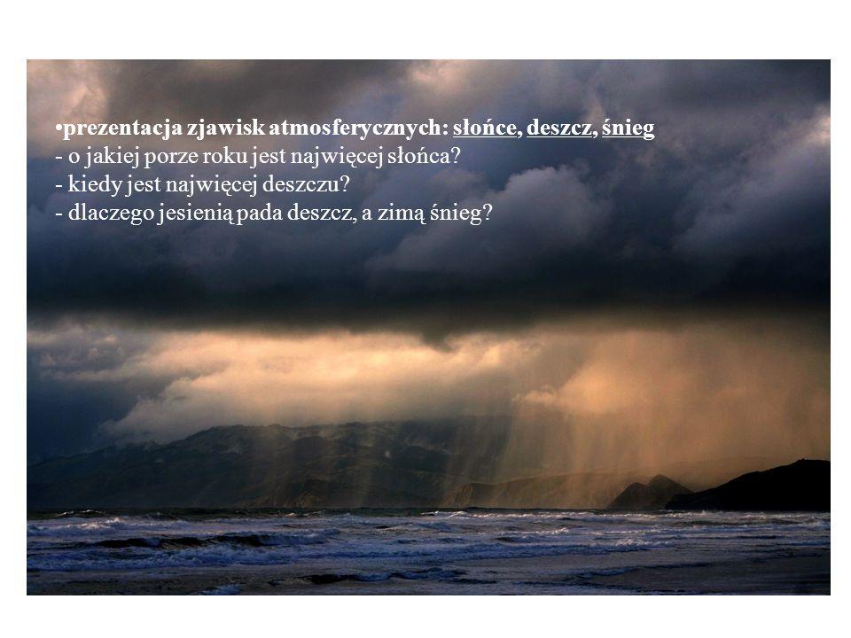 prezentacja zjawisk atmosferycznych: słońce, deszcz, śnieg